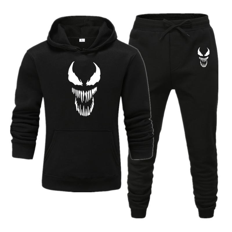 Venom Edward Hoodie Pants Men Sets Track Suit Movie Superhero Tops Pant Sweatshirt Sweatpants Sportswear Autumn Sports Tracksuit