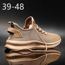 Дышащие кроссовки 47, модные мужские кроссовки на платформе 46, большой размер, светильник, удобная повседневная мужская спортивная обувь для...