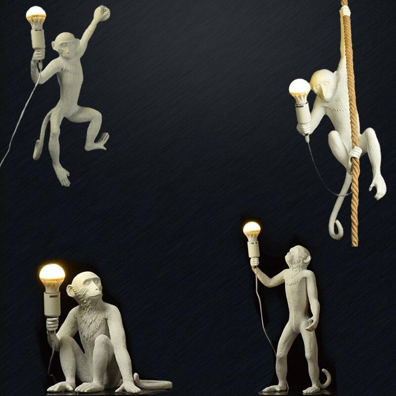 Resin Black White Gold Monkey Lamp Pendant Light for Living Room Lamps Art Parlor Study Room Led Lights Lustre with E27 Led Bulb 2