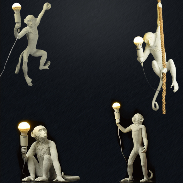 Resin Black White Gold Monkey Lamp Pendant Light for Living Room Lamps Art Parlor Study Room Led Lights Lustre with E27 Led Bulb 2