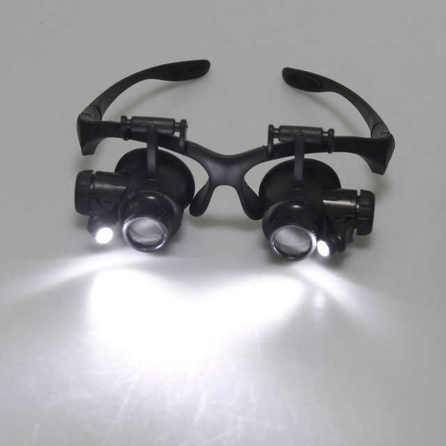 8 Lens Magnifier Magnifying Eye Glass Loupe Jeweler Watch Repair with LED Light TUE88 4