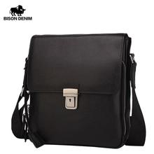 BISON DENIM Genuine Leather Men's Bag Brand Black Business M