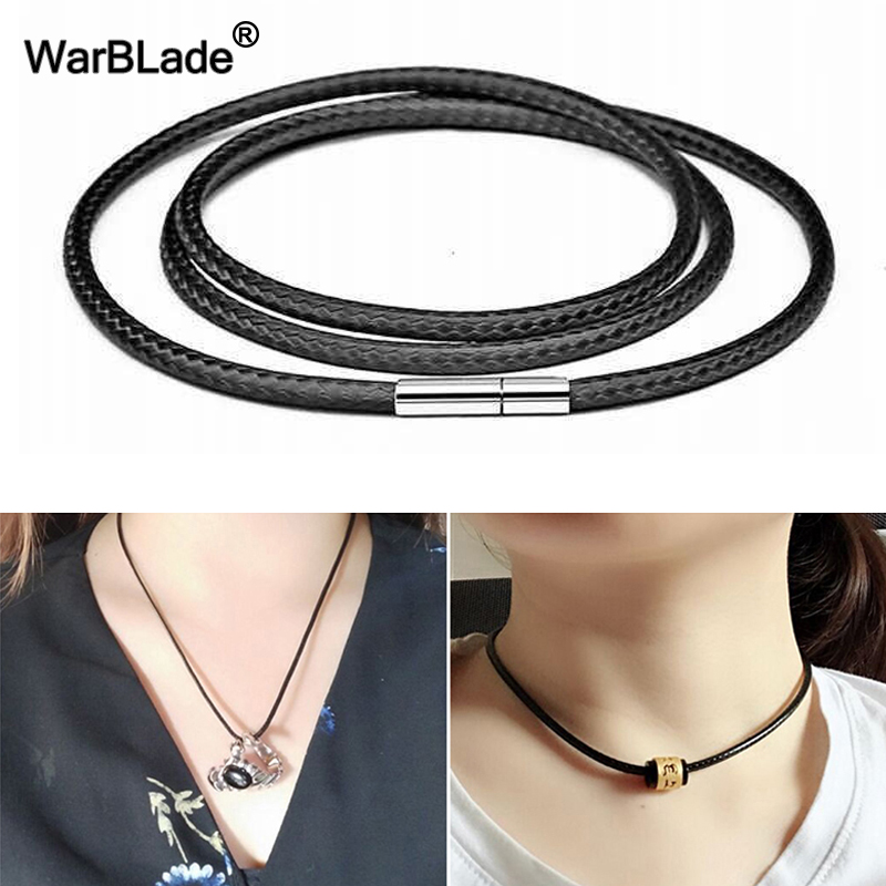 Pendant Necklace Cord 40-80cm Leather Cord Necklace Wax Rope Stainless Steel Rotary Clasp Lobster Clasp Chain For DIY Jewelry