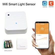 Tuya wifi impermeável ao ar livre sensor de luz inteligente (0-30000) lux alimentado por bateria casa inteligente luz automação sentido ligação controle