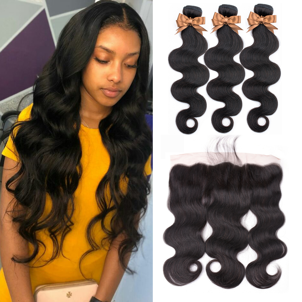 Human Hair Bundles With Frontal Body Wave Brazilian Hair Weave Bundles 13x4 Lace Frontal With Bundles Ms Love