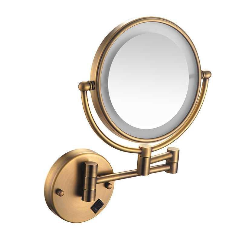 Espejo de latón antiguo para baño, espejo de maquillaje Led, aumento de 10X, espejo cosmético ajustable, espejo de maquillaje iluminado montado en la pared Colgante de Ángel guardián de cristal H & D, abalorio de coche para espejo retrovisor, decoración colgante de jardín para el hogar, regalo (Chakra)