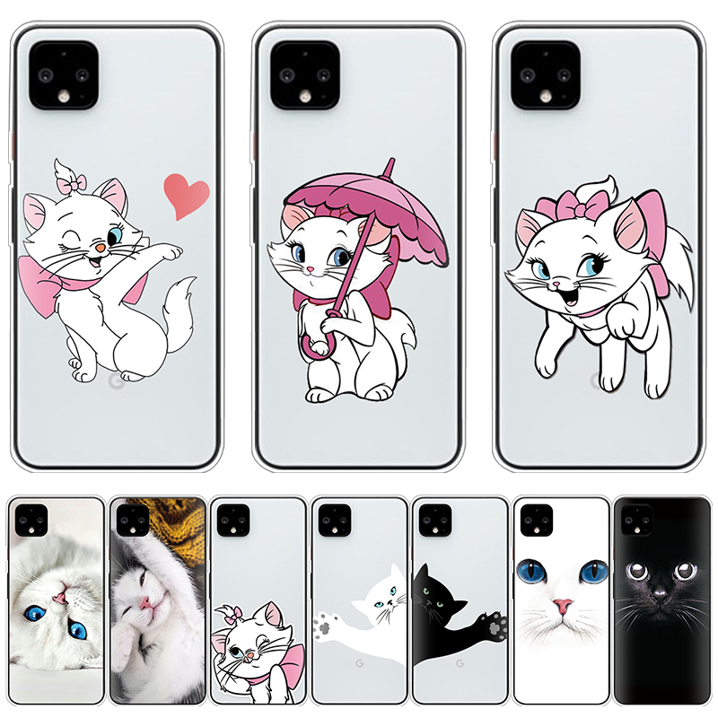 Phone Case For Google Pixel 4 3 2 XL 4XL Capas Soft Silicone Coque Cute Cats Painted Back Cover For Google Pixel 3A XL Funda TPU