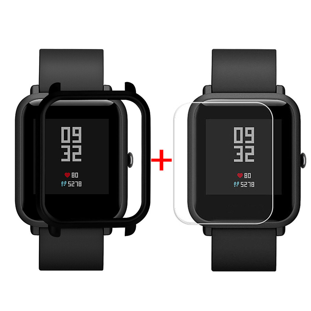Watch Silicone Rubber Case Cover Shell For Xiaomi Huami Amazfit Bip Youth Watch with Screen Protector Watch Accessory 12Colors