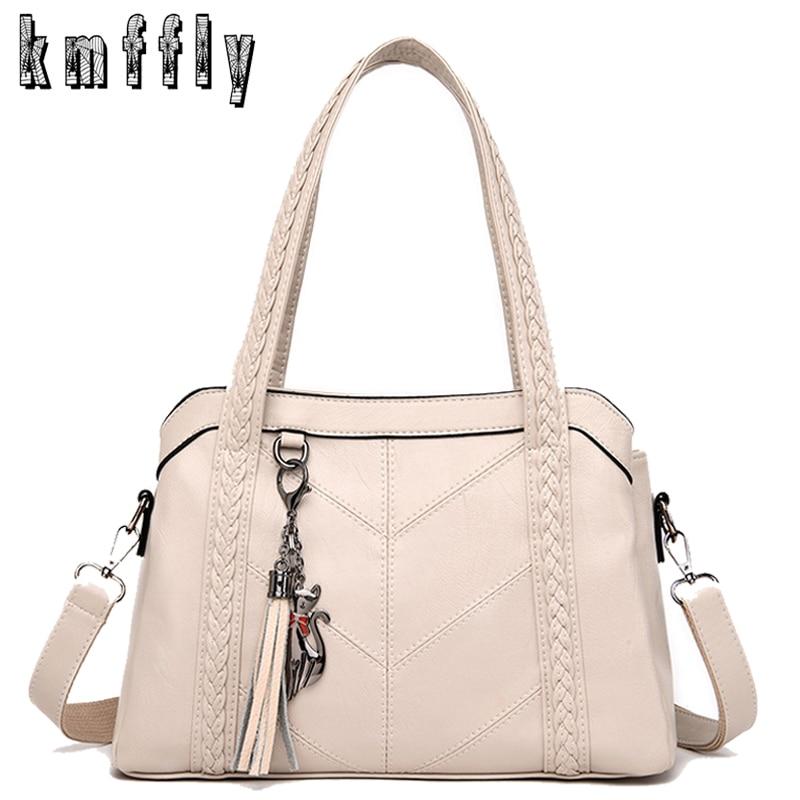 White Leather Handbags Women Multi-pocket Shoulder Bags Fashion Crossbody Bags For Women 2019 Purses And Handbags Bolsa Feminina
