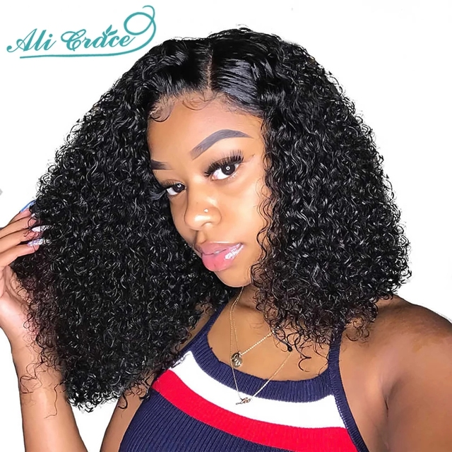 Ali Grace Brazilian Kinky Curly Bob Wig with Baby Hair 13×4 Pre-Plucked Curly Bob Lace Front Wigs For Women Curly Bob Wigs Remy