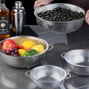 Edelstahl Ablauf Korb Küche Sieb Reis Waschen Filter Gemüse Obst Korb Micro-Perforierte Sieb