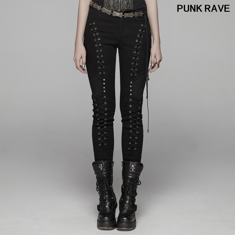 Fashion Personality rock Party Streetwear Pencil Pants Gothic Rope corns Lace Up slim Women trousers jeans PUNK RAVE WK-372XCF