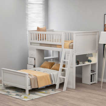 Twin Over Twin Bunk Beds w/ Drawers and Shelves,Wood Loft Bed Twin Bed Platform Bed Kids Teens Adults Beds for Home School Dorms - SALE ITEM All Category