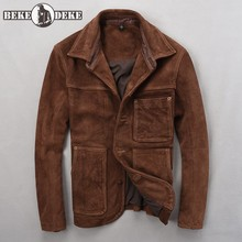 Mens Real Cow Suede Leather Jacket Single Breasted Pockets Safari Cargo Coat Mal
