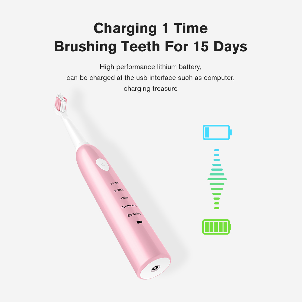 Powerful Electric Toothbrush Rechargeable 41000 Time/Min Ultrasonic Washable Electronic Whitening Waterproof Teeth Brush