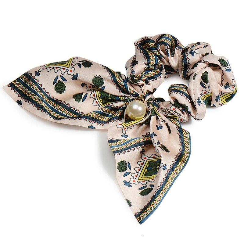 Mousseline de soie Cheveux Chouchous Femmes Mode Perle élastique pour queue de cheval Cheveux Cravate Cheveux Corde Élastiques Cheveux Accessoires couvre-chef en noeud 17