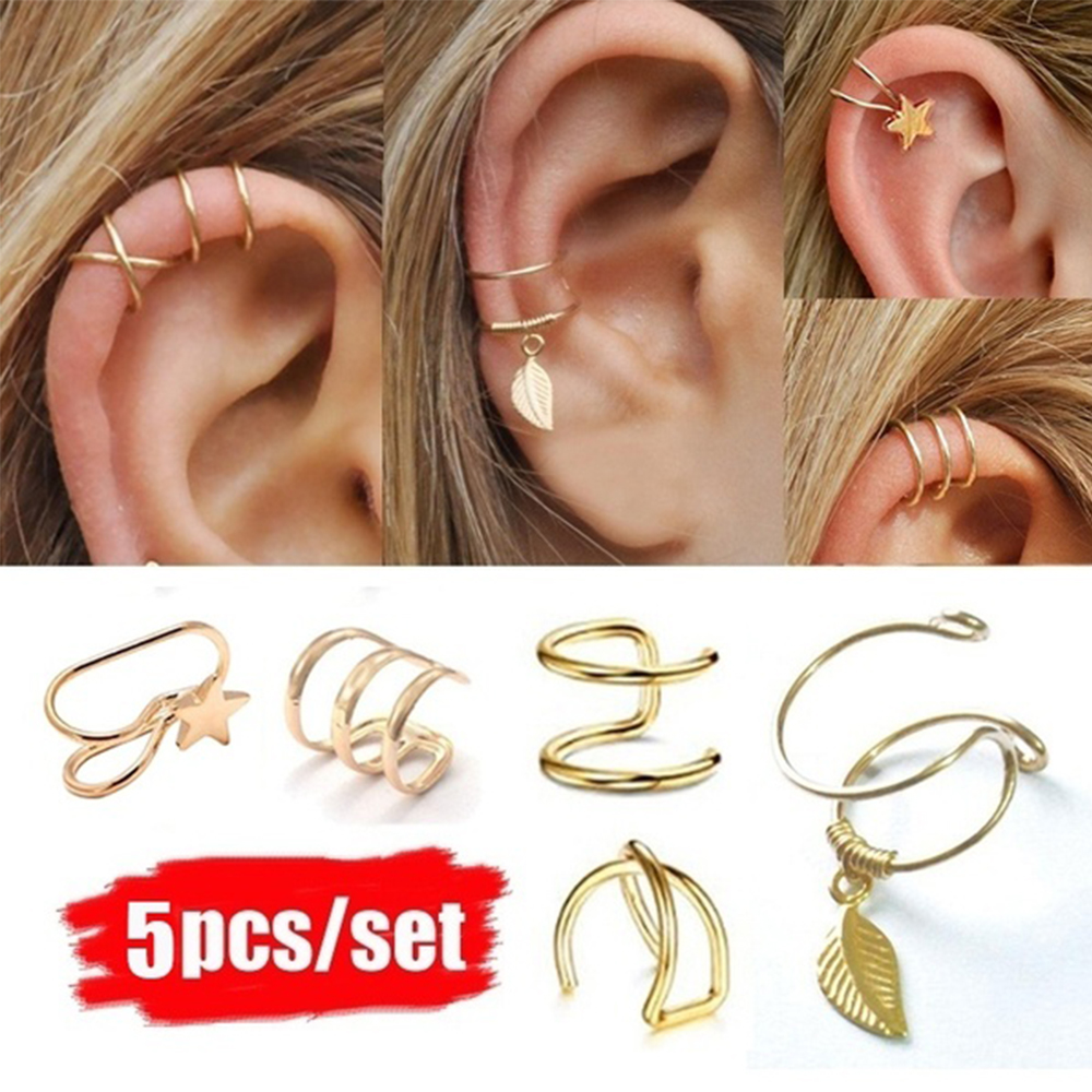 5Pcs/set Ear Cuff Clip On Earrings Fake Cartilage Earring For Women Men Clip Earrings Without Piercing