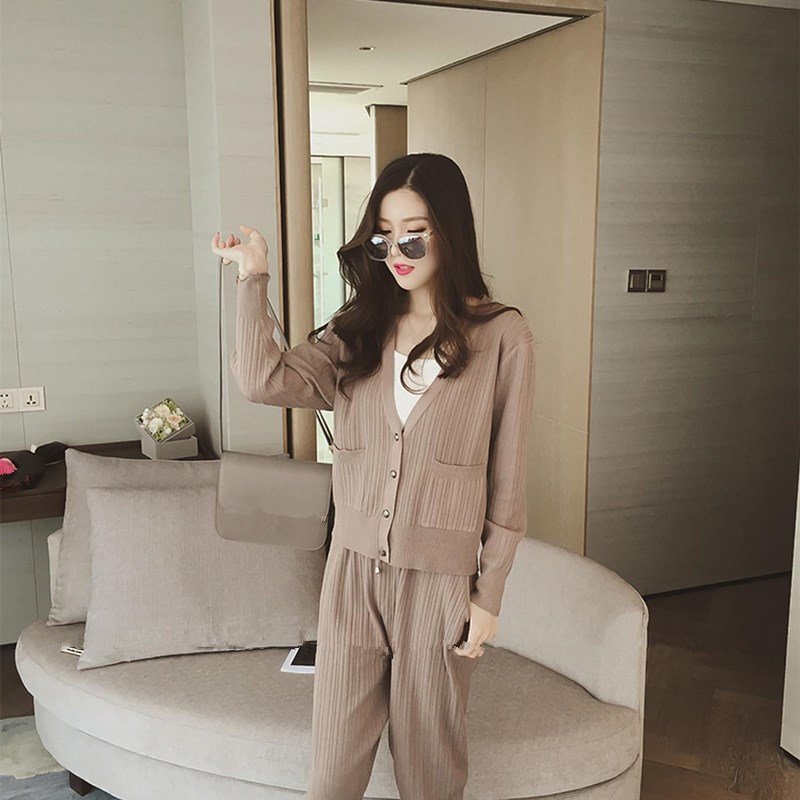 Knitted Casual Tracksuit Pant Suits 2018 Fashion 2 Piece Set Women Sweater And Trousers Set Pants Set 54