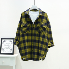 Autumn 2019 New Good Quality Plaid Cotton Shirt Women Plus Size Turn Down Collar Long Sleeve Loose Casual Fall Blouse For Woman girls plaid blouse 2019 spring autumn turn down collar teenager shirts cotton shirts casual clothes child kids long sleeve 4 13t