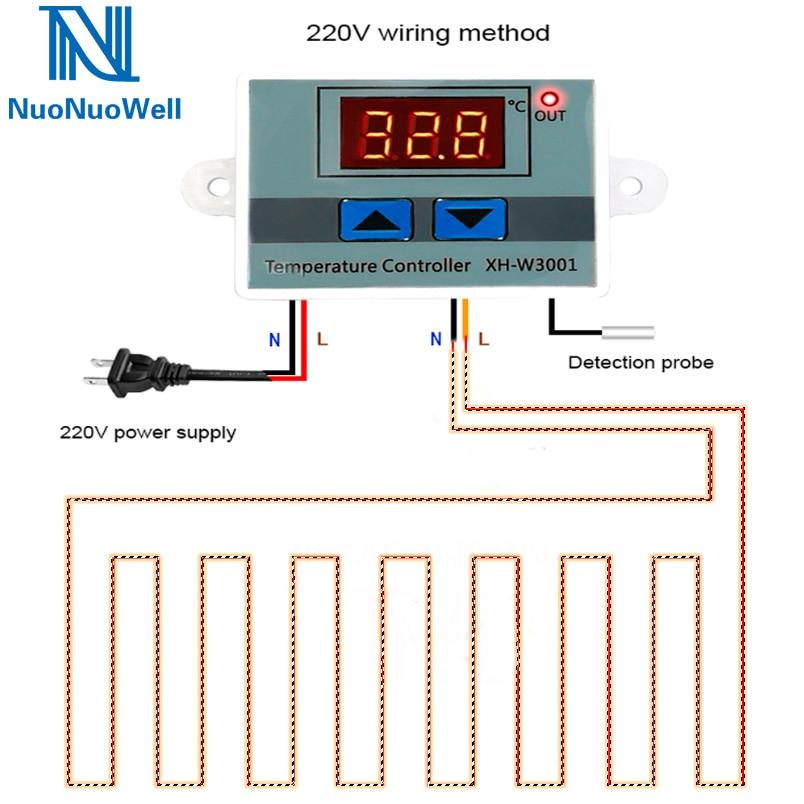 12V/24V/220V Micro Computer Digital Temperature Controller LED Display Greenhouse Heating Thermostat Incubator Aquarium Use