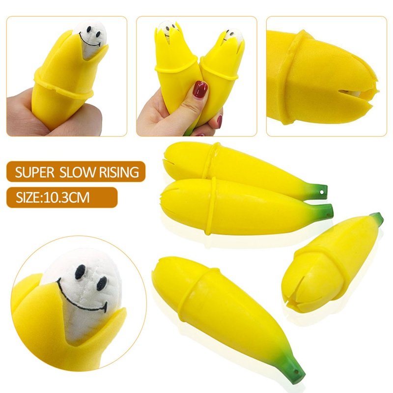 Novelty Funny Fruit Banana Squeeze Toy Stress Reliever Decompression Vent Toy