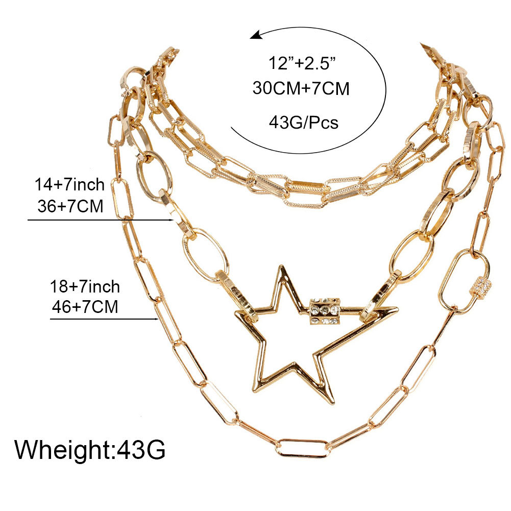 Retro Alloy Lightning Five-pointed Star Pendant Necklace for Woman 2020 New Personality Multilayer Necklace Sets