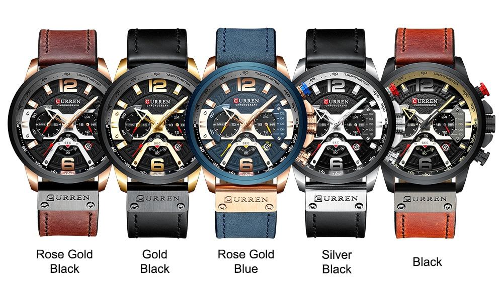 Hc05063a5d285444ba0dd74c51c64435ea CURREN Watch Men Business Watches Orologio Uomo Leather band Wristwatch Leather Quartz Watch Zegarek Meski Reloj Hombre man gift