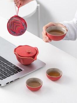 Juego de té de cerámica roja, juego de té portátil, juego de...