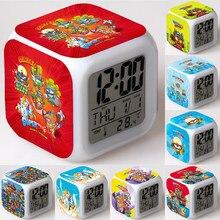 Супер Zings 7 будильник светодиодный цифровой 7 Цвет изменение светильник светящиеся ночью детская настольные часы Superzings Детский подарок