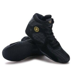 Профессиональная Обувь для бокса для мужчин и женщин, Черная спортивная обувь для борьбы, противоскользящие тренировочные кроссовки унисе...