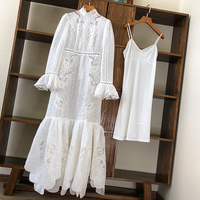Beach Stlye Long Dress 2020 Spring New Australia Fashion Branded Stand Collar Hollow Out Embroidery Elegant Runway Dresses