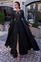 Женские вечерние платья кружевные атласные с длинным рукавом