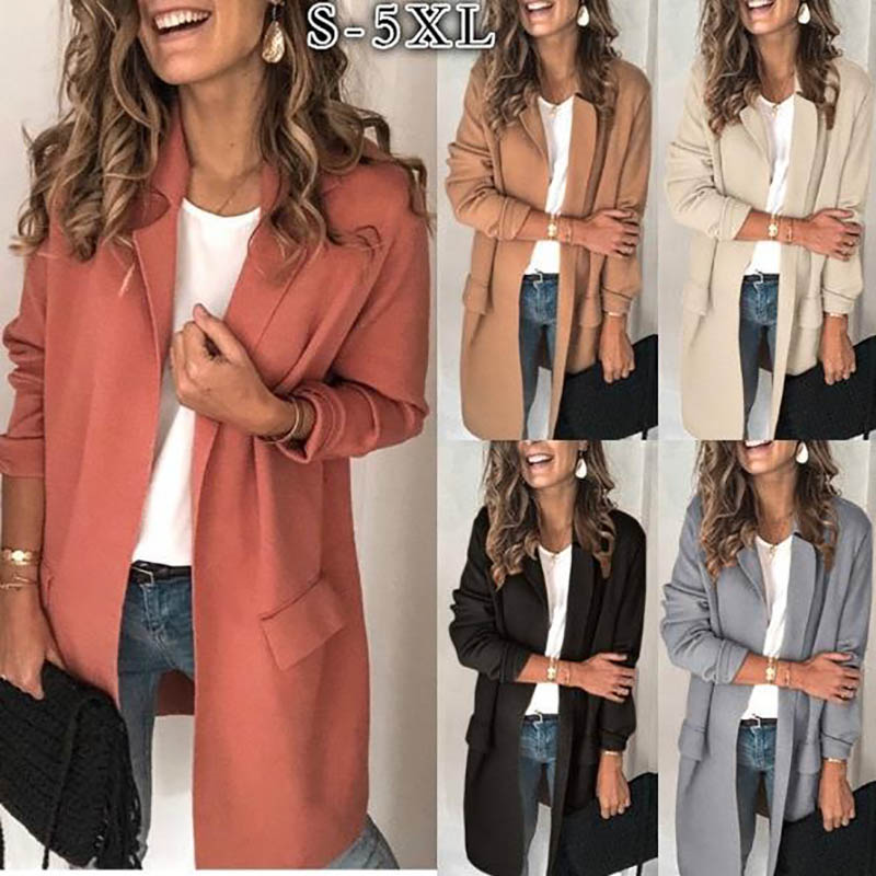 Women Elegant Jacket Slim Casual Solid Business Blazer Long Blazers Jacket Ladies Spring Autumn Suit Coat Feminino Outerwear