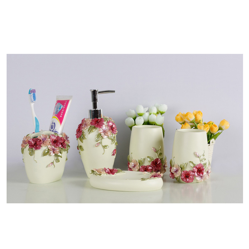 Style campagnard résine 5 pièces ensemble d'accessoires de salle de bain distributeur de savon/porte-brosse à dents/gobelet/porte-savon (vert) - 5