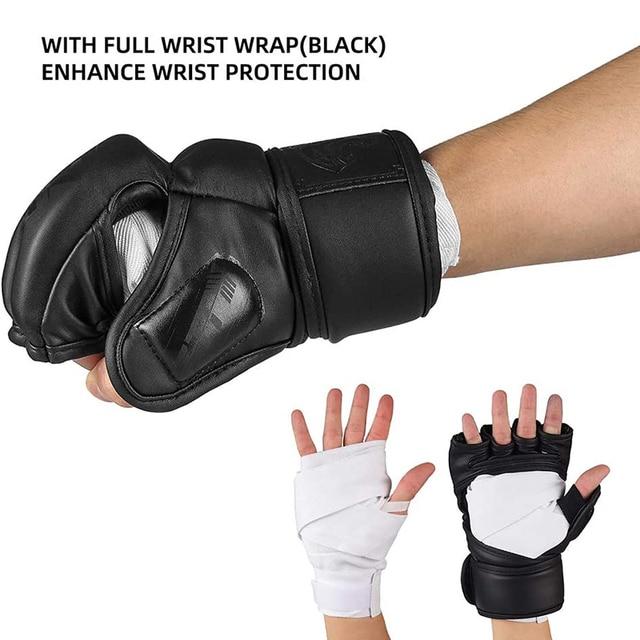 Half Finger Boxing Gloves Half Finger Boxing Gloves PU Leather MMA Fighting Kick Boxing Gloves Karate Muay Thai Training Workout Gloves Men. - FitnessKim
