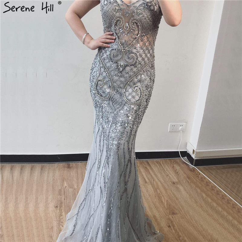 Image 4 - Serene Hill Grey Luxury V Neck Mermaid Evening Dress Design 2020 Dubai Full Diamond Sexy Formal Party Gown CLA70063Evening Dresses   -