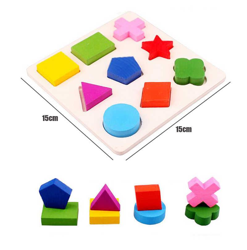 Juguetes de madera Montessori educativos para edades tempranas, rompecabezas divertido, tablero de mano, forma de geometría de colores, juego de juguetes para niños