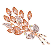 Women Fashion Delicate Peacock Flower With Diamonds Brooches Crystal Pin Brooch Trendy Women Lady Female Wedding Party Brooches(China)