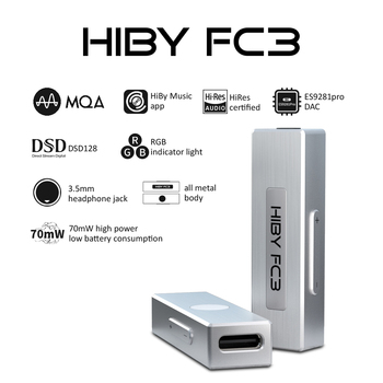 HiBy FC3 HiFi Lossless USB Headphone Decoding Deskstop DAC Audio Amplifier DSD128 MQA 3.5mm Output for Android iOS Mac Windows10 himing rivals el34 aluminum tube amplifier hifi exquis headphone output bluetooth handmade scaffolding panel rhel34apb