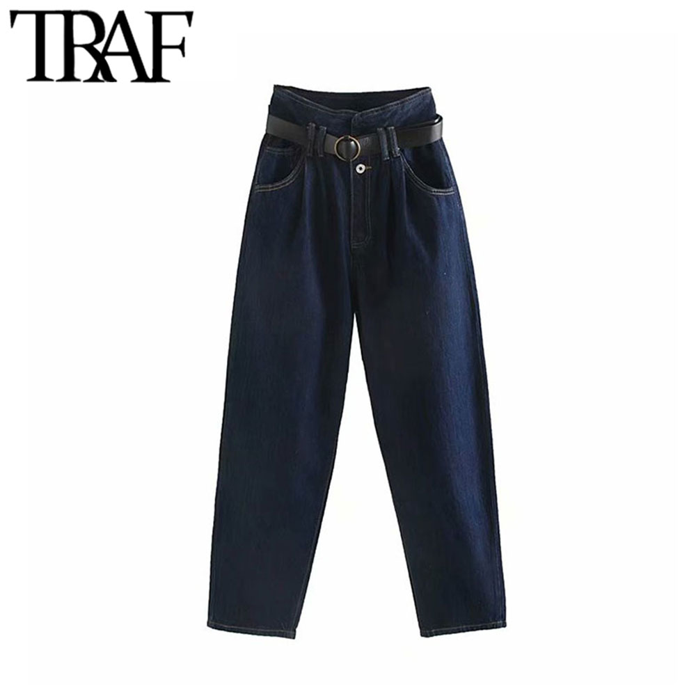 TRAF Women Vintage Stylish With Belt High Waisted Jeans Fashion Zipper Fly Pockets Denim Harem Pants Chic Female Ankle Trousers