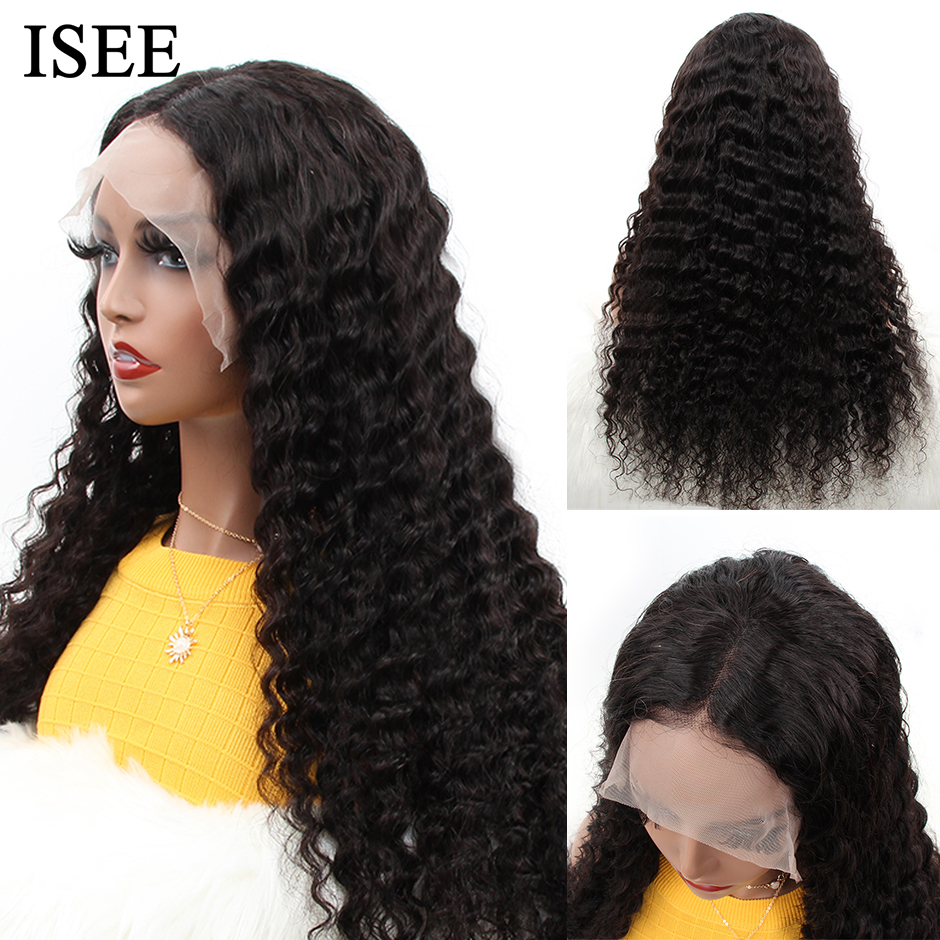 Deep Wave Human Hair Wigs For Women Remy 150% 180% Density Malaysian ISEE HAIR Wigs Loose Deep Wave Lace Front Human Hair Wigs