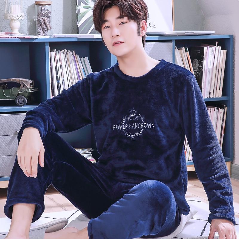 H5746 Men Flannel Pajamas Autumn Winter Korean Plus Velvet Sleepwear Set Male Long Sleeve Coral Fleece Comfortable Home Clothing