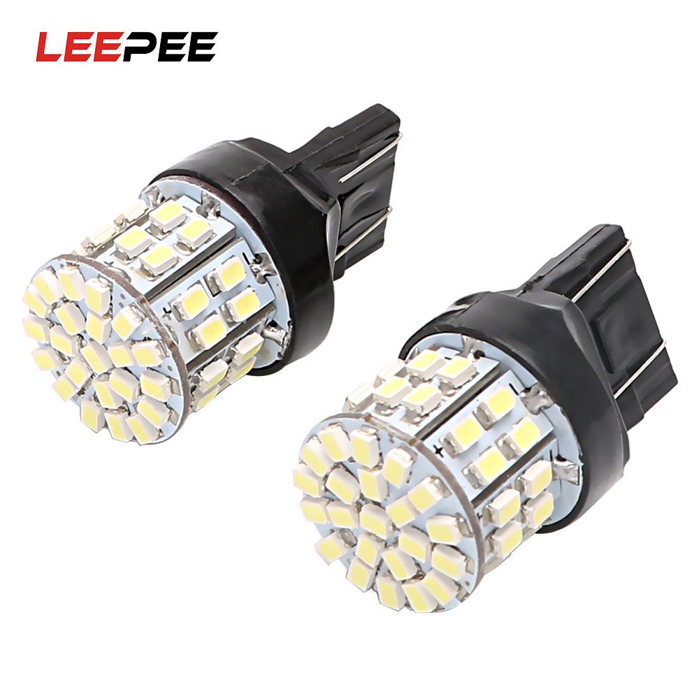 LEEPEE 1 Pair 50SMD Backup Reserve Lights Stop <font><b>Rear</b></font> <font><b>Bulb</b></font> Car <font><b>LED</b></font> Brake Light <font><b>T20</b></font> 7443 DC 12V Auto Turn Signal Lamp W21/5W image