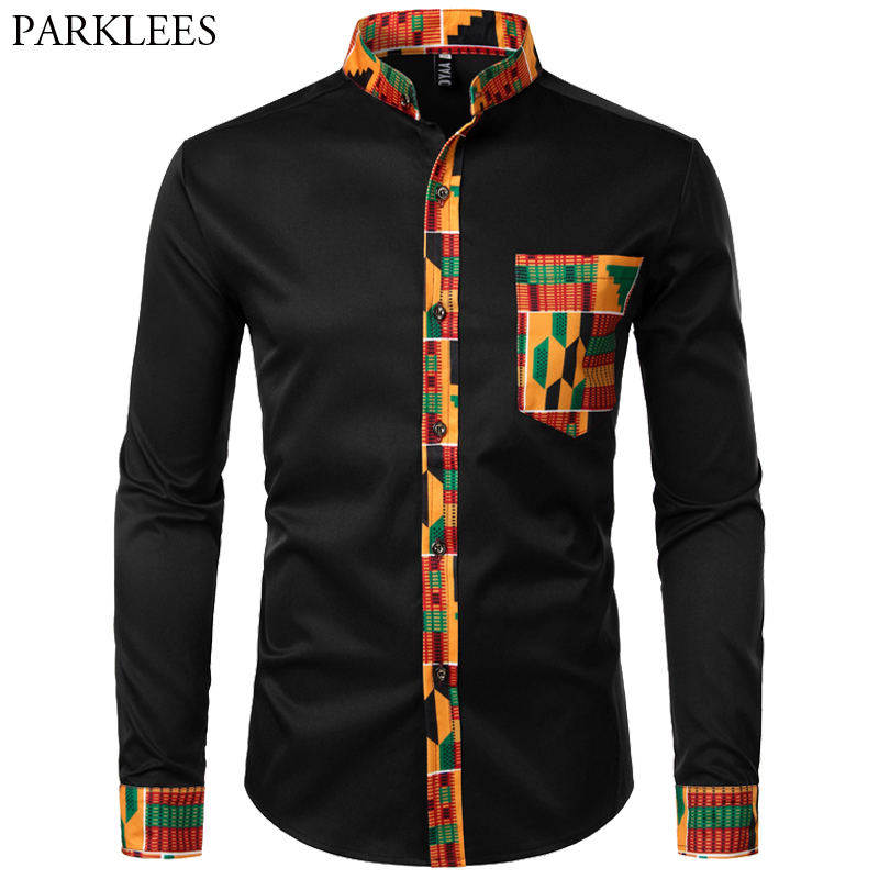 Mens African Dashiki Shirt Stylish Splice Tribal Mens Dress Shirt Stand Collar Black Shirt Men Casual Slim Fit Long Sleeve Tops