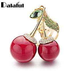 Dalaful-porte-clés rouge avec strass en cristal, sac avec pendentif dessin animé mignon, pour femmes, porte-clés, bijoux, K364, porte-anneau