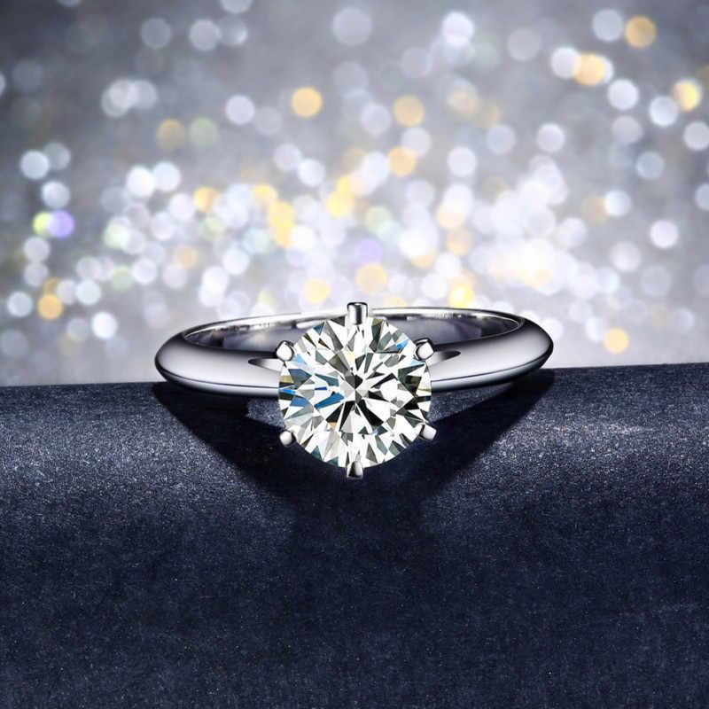 99% 할인 솔리테어 1ct 랩 다이아몬드 반지 100% 진짜 925 스털링 실버 약혼 웨딩 밴드 반지 여성 남성 파티 쥬얼리