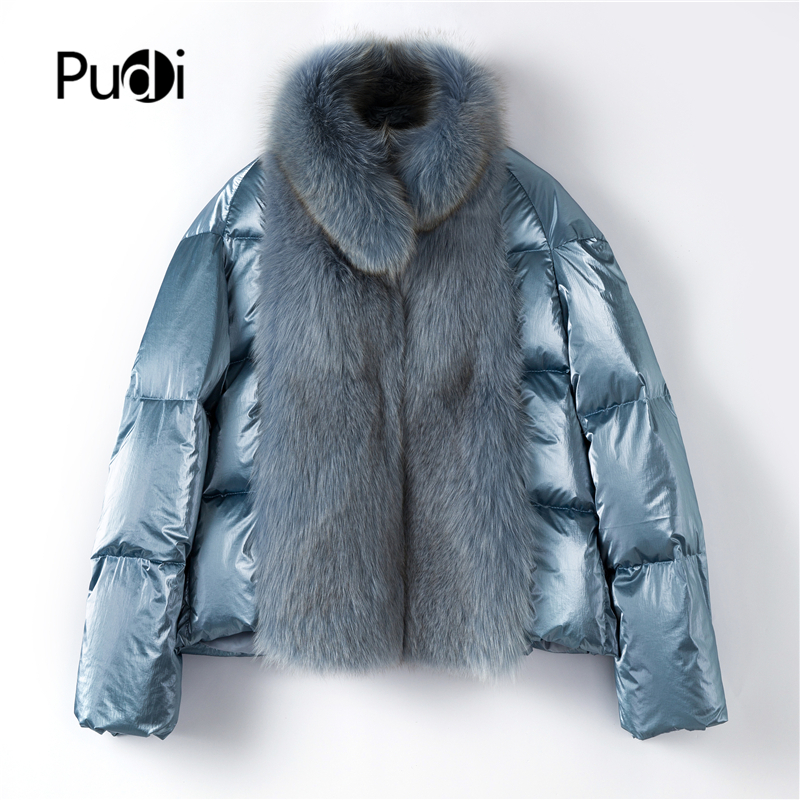Pudi TX223914 Women 90% Duck Down New Fabric Real Fox Fur Winter Jacket Overcoat Lady Fashion Genuine Fur Coat Outwear