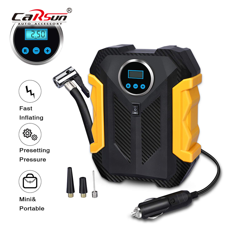 CARSUN Compressor Air Pump Digital Car Inflador Compresor De Aire Auto Compresor 12 V De Coche Tire Inflator LED Light Portable