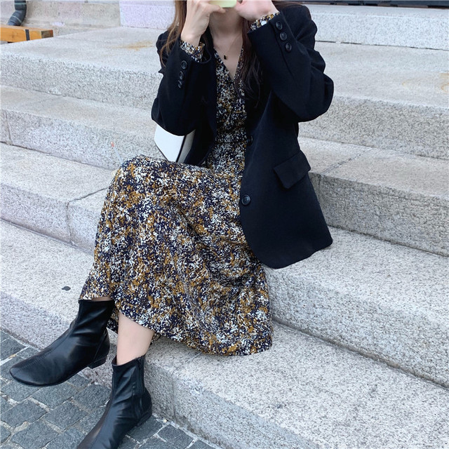 New suits Female Vintage Autumn Office Ladies Notched Collar BLACK Women Blazer Breasted Jacket Casual Pockets Female Suits Coat 5