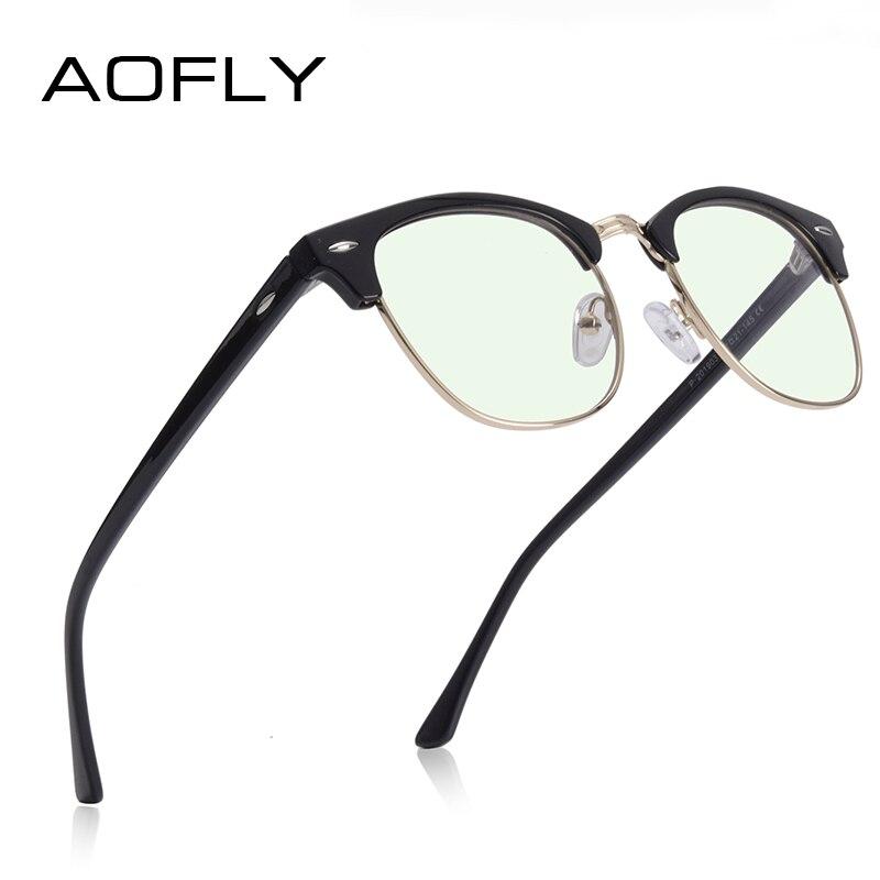 AOFLY Anti Blue Light Glasses Men Retro Square Frame Brand Design Computer Glasses Women Harmful Light Blocking Eyewear Male